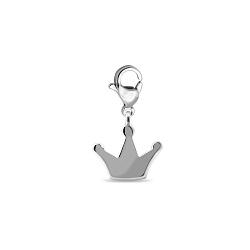 Серебряный брелок-корона с родированием в стиле минимализм 000072518