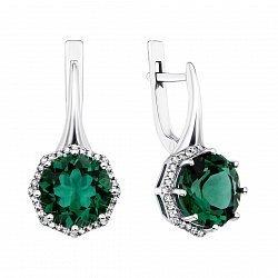 Серебряные серьги с зеленым кварцем и фианитами 000135060