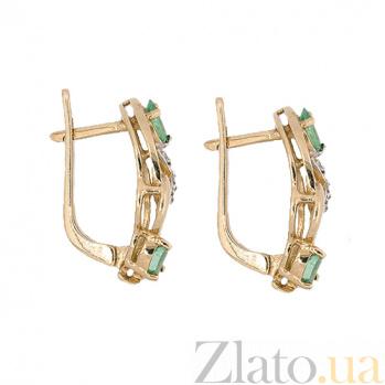 Золотые серьги с бриллиантами и изумрудами Берта ZMX--EE-6555_K