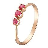 Кольцо в красном золоте Иванна с рубинами