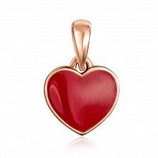 Кулон-сердце из красного золота с красной эмалью 000130895