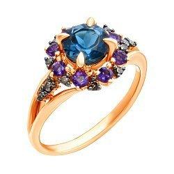 Золотое кольцо в комбинированном цвете с лондон топазами, бриллиантами и аметистами 000139443