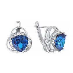 Серебряные серьги с синими и белыми фианитами 000029077