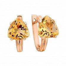 Золотые серьги Триана в красном цвете с цитрином