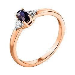 Кольцо из красного золота с сапфиром, бриллиантами и родированием 000124910