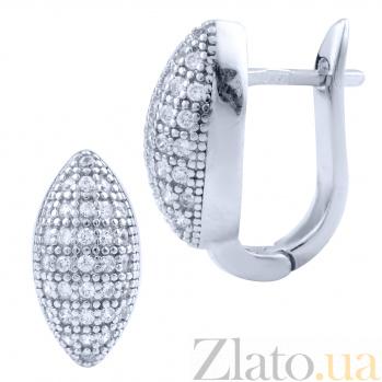 Серебряные серьги Клондайк с родием и белыми фианитами 000077879