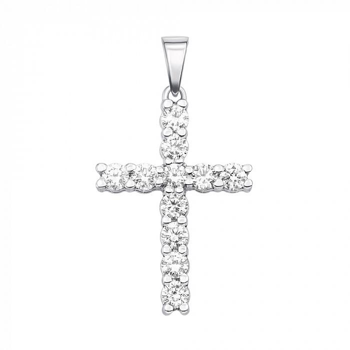 Декоративный крестик из белого золота с бриллиантами 000136514 000136514