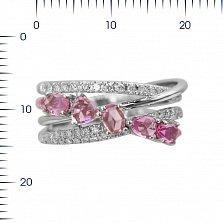 Кольцо из белого золота Саманта с бриллиантами и розовыми сапфирами