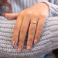 Золотое кольцо Великолепие в белом цвете с фианитами