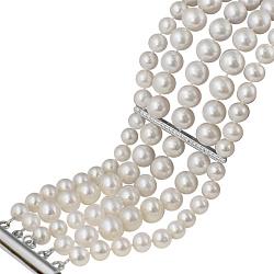 Пятирядный браслет Оливия из белого жемчуга с серебряными вставками в фианитах