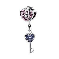 Серебряный шарм Ключ к сердцу с подвеской, синими и розовыми фианитами