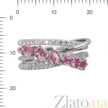 Кольцо из белого золота Саманта с бриллиантами и розовыми сапфирами 000080935