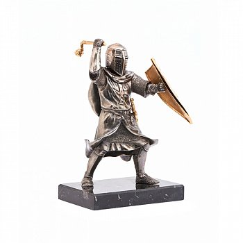 Бронзова скульптура Тевтонський лицар на обсидіановій підставці 000051969