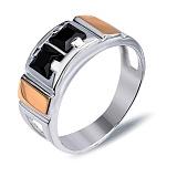 """Перстень печатка из серебра с золотом и обсидианом """"Эдуардо"""""""