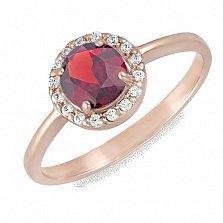 Золотое кольцо Ксения с гранатом и фианитами