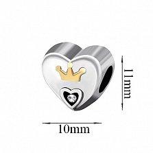 Серебряный подвес-шарм Сердце королевы с фианитом