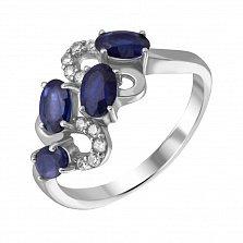 Серебряное кольцо Абриэль с сапфирами и фианитами