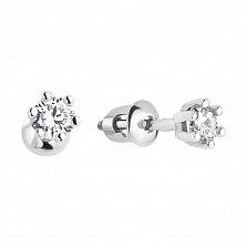Серебряные серьги-пуссеты Cоло с белыми фианитами в шести крапанах