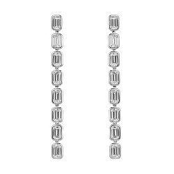 Серебряные серьги-подвески с завальцованными белыми фианитами 000099697