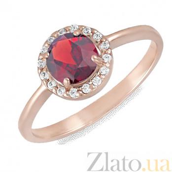 Золотое кольцо Ксения с гранатом и фианитами 000023468