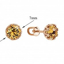 Золотые серьги-пуссеты Лагуна в красном цвете с цитринами в крапанах-короне и фианитами