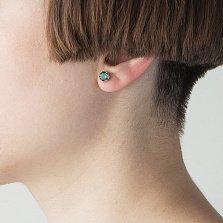 Серебряные серьги-пуссеты Джуди с зеленым кварцем нано