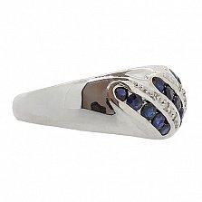 Серебряное кольцо с бриллиантами и сапфирами Беатрис