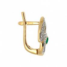 Золотые серьги с бриллиантами и изумрудами Анита