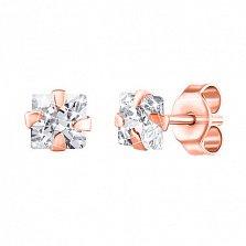 Серебряные серьги-пуссеты Олеся с фианитами и позолотой
