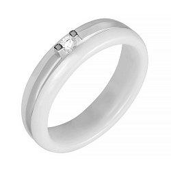 Кольцо из белой керамики и серебра с цирконием 000025679