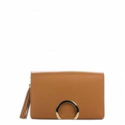 Кожаная деловая сумка Genuine Leather 8649 коньячного цвета с клапаном и декоративной кистью