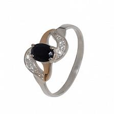 Серебряное кольцо с золотой вставкой и цирконием Водопад