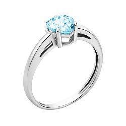 Кольцо из белого золота с голубым кристаллом Swarovski и родированием 000133626