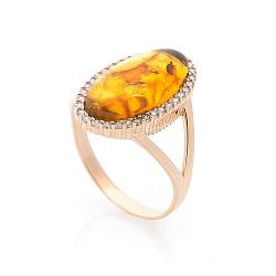 Золотое кольцо Магали с янтарем и фианитами 000073044
