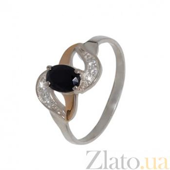 Серебряное кольцо с золотой вставкой и цирконием Водопад BGS--430к