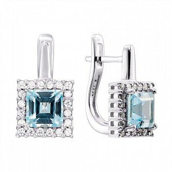 Серебряные серьги с голубыми топазами и цирконием 000137244