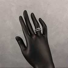 Серебряное кольцо Варвара с двойной шинкой и дорожкой белых фианитов