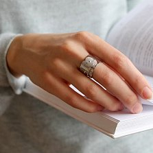Серебряное широкое кольцо Мак