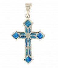 Серебряный крестик Даниэлла с голубым опалом