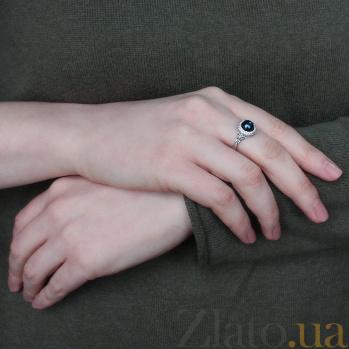 Серебряное кольцо Прованс с черным жемчугом и белыми фианитами 1774/9р черн