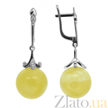 Серебряные серьги-подвески с бриллиантами и янтарём Иванна ZMX-EDAmber-6955-Ag_K