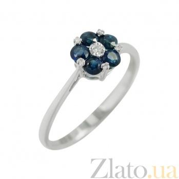 Золотое кольцо с сапфирами и бриллиантами Инесс 1К551-0164