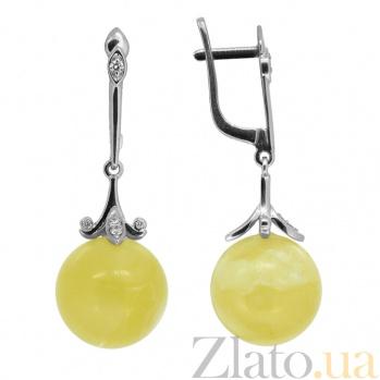 Серебряные серьги-подвески с бриллиантами и янтарём Иванна ZMX--EDAmber-6955-Ag_K