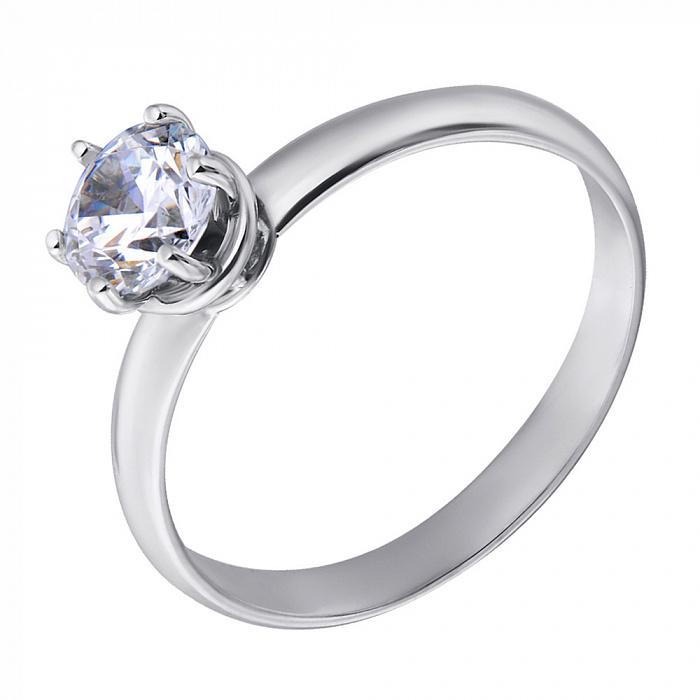 Золотое кольцо Кэтлин в белом цвете с белым фианитом в стиле Дамиани 000071075