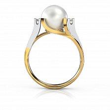 Золотое кольцо Канны с жемчугом и бриллиантами
