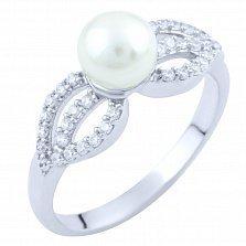 Серебряное кольцо Фиделма с жемчугом и цирконием