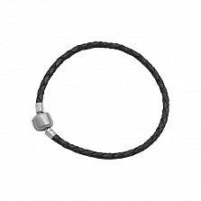 Кожаный браслет Клодина с серебряной застежкой