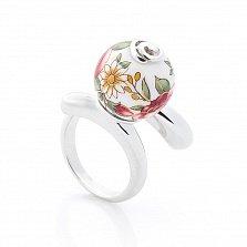 Серебряное двойное кольцо Акулина с керамикой микс
