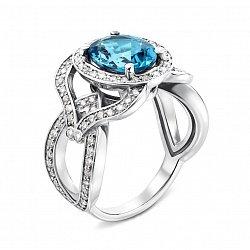 Кольцо из белого золота с голубым топазом и бриллиантами 000135268