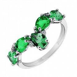 Серебряное кольцо с зеленым кварцем и фианитами 000136561